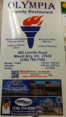 Olympia Restaurant Mount Airy Nc Menu