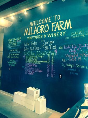 Milagro Farm Vineyards and Winery: Tasting room - the menu