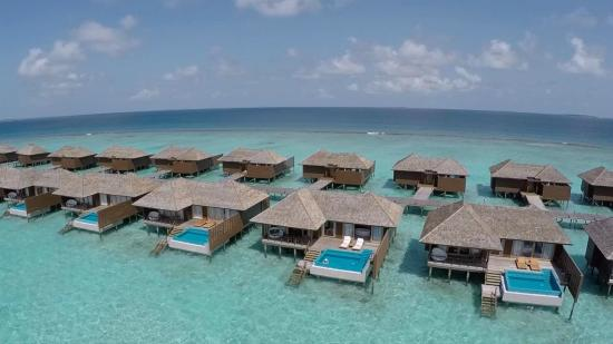 Dhonakulhi Island: Aerial view of deluxe water villas