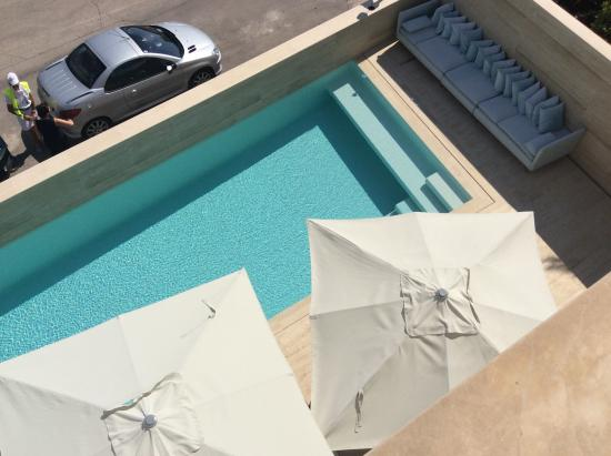 Hotel Valsabbion: View of the pool from our balcony