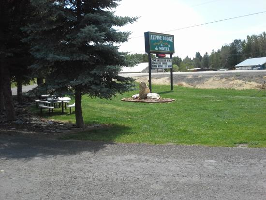 Alpine Lodge and Motel : Front lawn area and sign