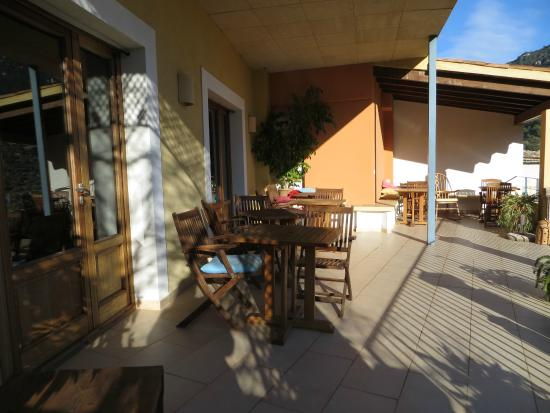 Es Petit Hotel de Valldemossa: The deck outside the dining room, a great place on warm, sunny days.