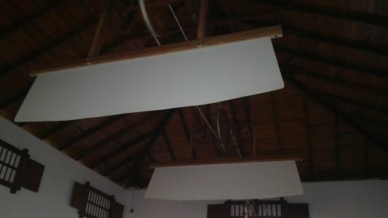 Rest House Matara: Huge fans still preserved and used from colonial era to cool the dinning area