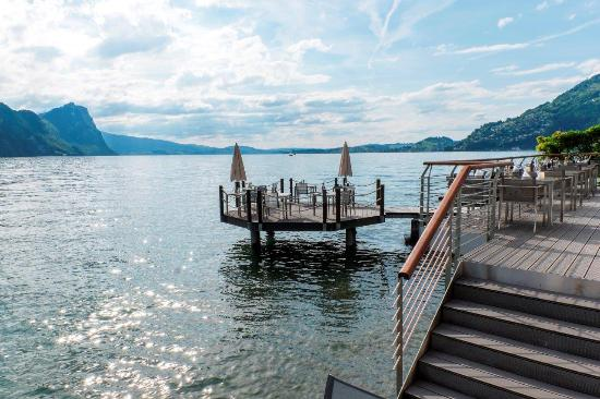 Hotel Vitznauerhof: Sens Terrasse und Insel