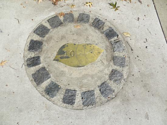 Danville Historical Society's Guided Walking Tour: Tour marker along the sidewalk