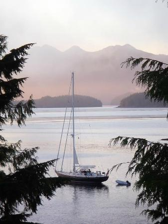 Meares Retreat Bed & Breakfast: Sailboat staying in the bay below our room for the night
