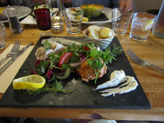 The Partridge Inn: Selsey Crab Salad [foreground], Fish Pie [background]
