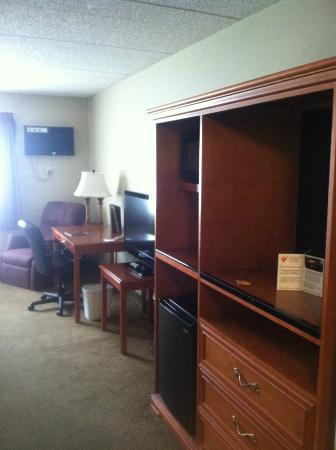 Centerstone Plaza Hotel Soldiers Field - Mayo Clinic Area: Chair, desk, fridge, microwave