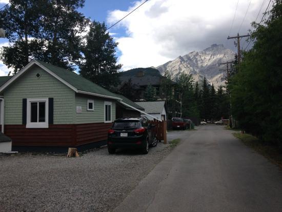 Back Of Fox Cabin Laneway Cascade Mtn In Background