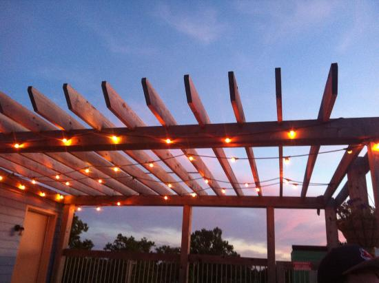 The Cleveland Hostel: the roof deck at night