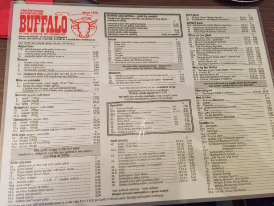 Buffalo Steakhaus: قائمة الطعام بالإنجليزي .