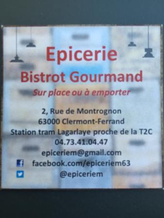 la carte de visite du restaurant picture of epicerie m. Black Bedroom Furniture Sets. Home Design Ideas