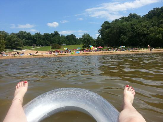 View of the beach from my float. It is still shallow ...