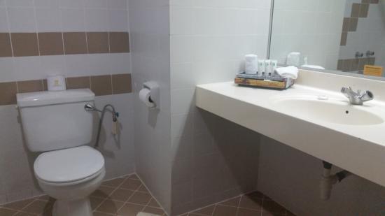 Hotel Cambodiana: The dismal bathroom.