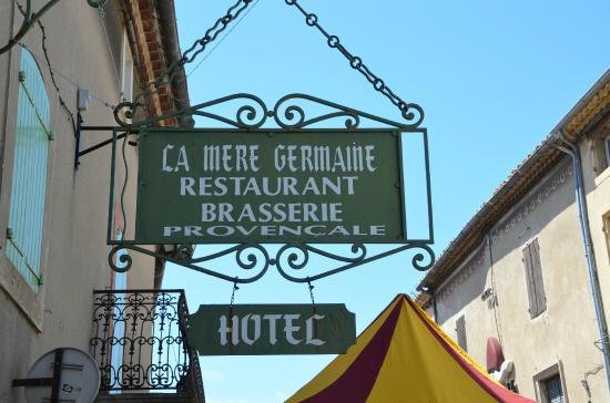 Hotel La Mere Germaine: Hotel sign