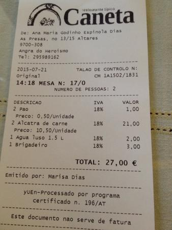 Restaurante Caneta: Un precio muy correcto
