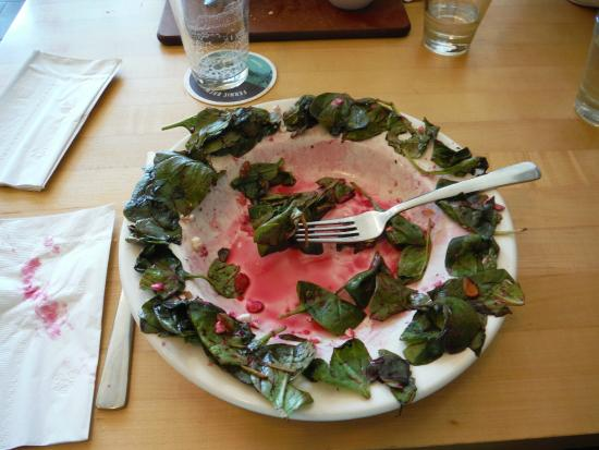 Loaf Bakery & Restaurant: wilted spinach on edge of salad plate