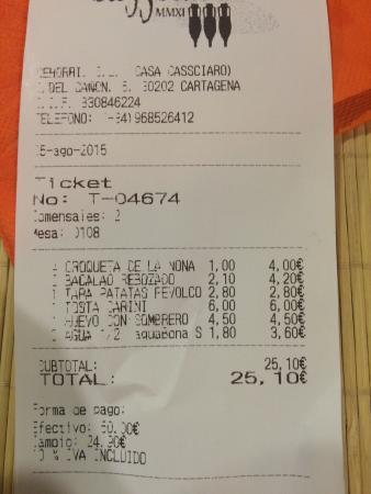 Casa Cassciaro: Cuenta de cena para dos. Con agua y sin postre.