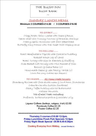 Sunday Lunch Sample Menu  Picture Of Bush Inn Hereford  Tripadvisor