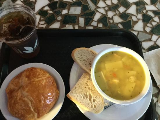 Spiral Press Cafe: Homemade chicken soup and fresh baked croissant