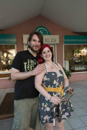 Eva Perles Pearl Buying : My husband and I with my beautiful pearls!