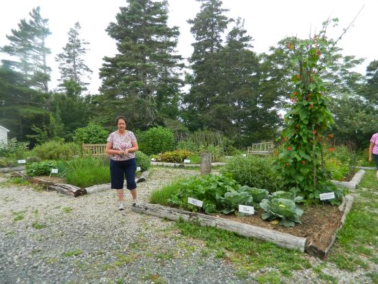 Musee des Acadiens des Pubnicos: The lovely garden and Bernice.