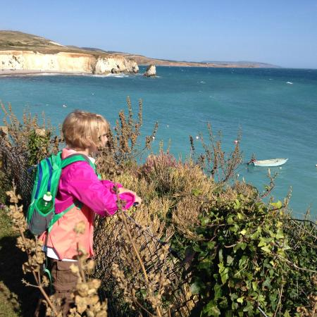 Freshwater Bay Country House: Granddaughter Cora takes in the view of the cliffs