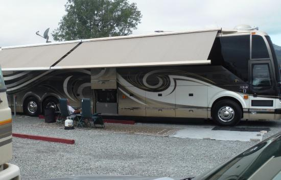 Marin RV Park: Rig set up with outside TV