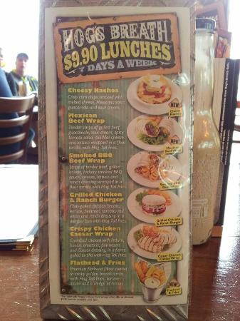Hog's Breath Cafe: Cheap lunch menu