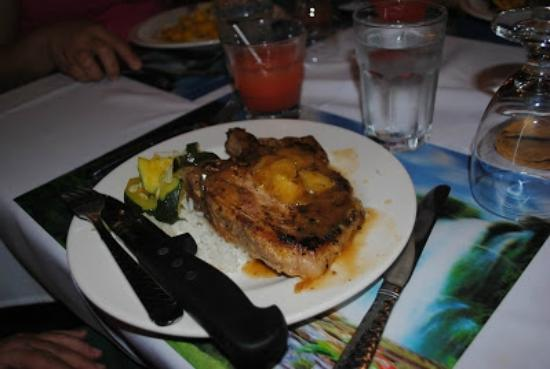 Black Orchid Restaurant: Black Orchid Resort dinner, pork chop w/pineapple