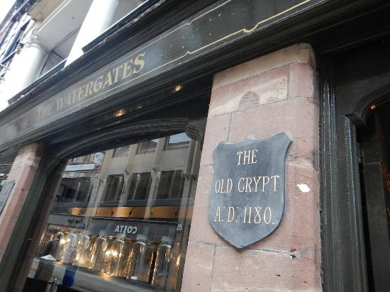 Watergates Bar: Old Crypt sign at the entrance