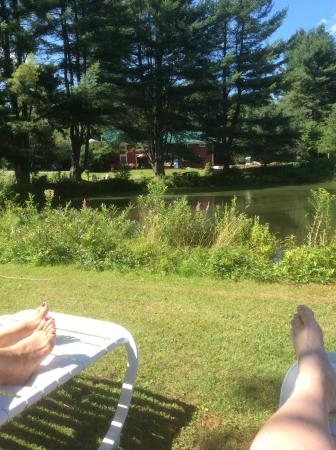 West Halifax, VT: Relaxing by the pond