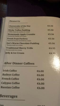 The Bailie Hotel: And the food menu is even better what a luxury to have this hotel in bailieborough