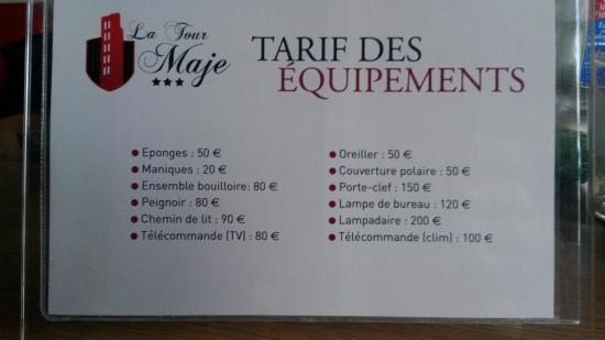 Hotel de la Tour Maje : Tarif des équipements