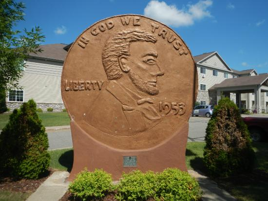 Woodruff, WI: On block away is the world's largest penny as a tribute to Dr. Kate
