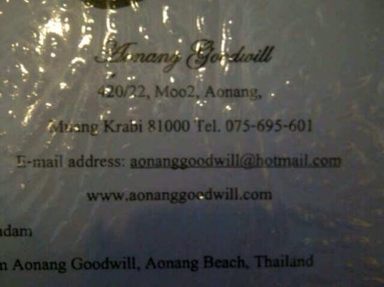 Aonang Goodwill: Alamat