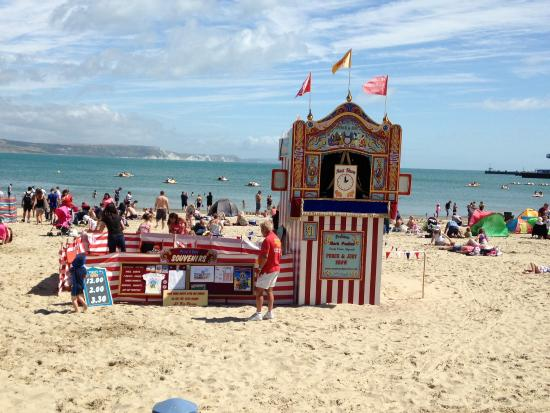 Traditional Punch and Judy show on Weymouth Beach