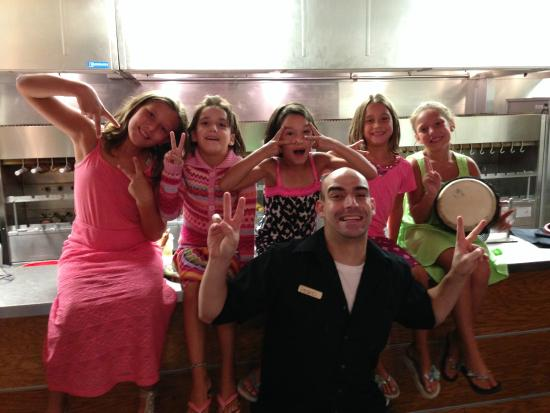 Rodizio Grill : The manager, Pedro, with our girls.  Made their night!!