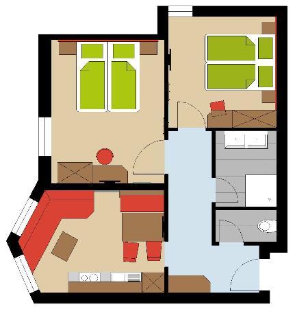 Hotel Chasa Sulai: Skizze Apartment 4 Pers.