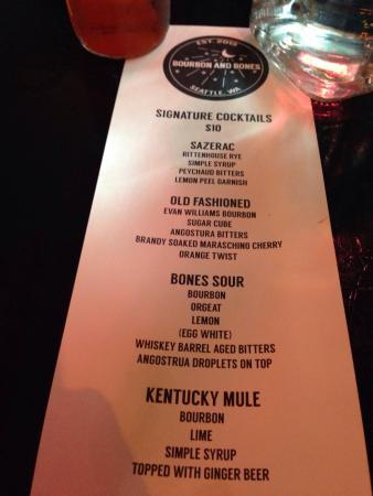 Bourbon Columbia Drink Menu