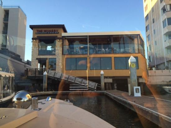 The Winery Restaurant And Wine Bar Pulling Up In Boat To
