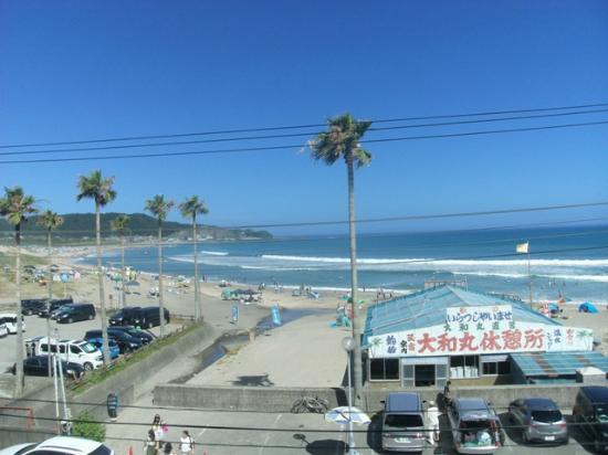Ishii sou : 部屋から見た御宿の砂浜です
