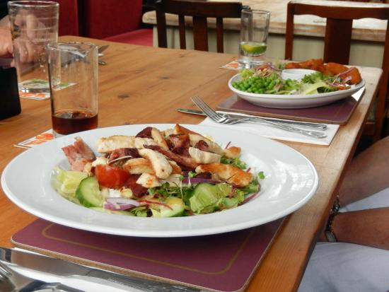 Butcher and Beast: Chicken and bacon salad, scampi