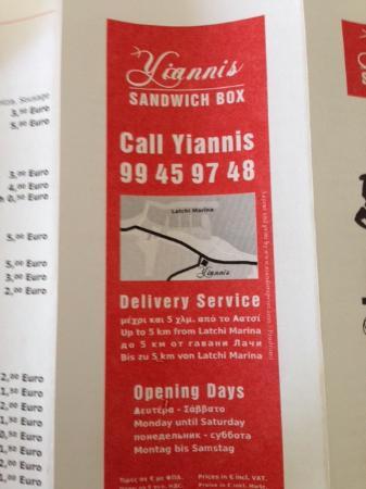 Yiannis Sandwich Box Kiosk