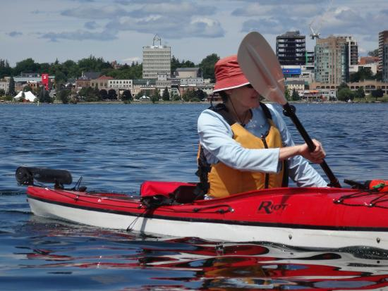 practicing our paddle strokes in Kempenfelt Bay, Barrie