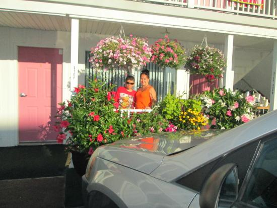 Seaside Heights, NJ: Ground Floor, our room nest to the office. Beautiful Flowers to decorate the Place.