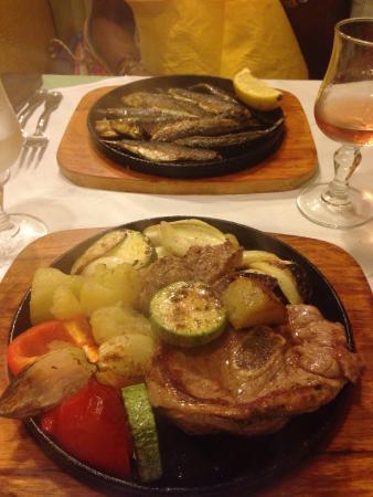 U Casanu: Sardines grillées et agneau grillé avec ses légumes ....