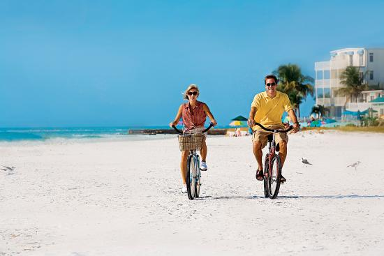 Pedal beach cruisers right on the sand on Siesta Key.