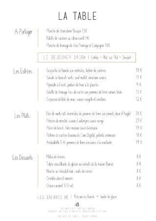 Le Pim'Pi Bistrot : Le menu du moment