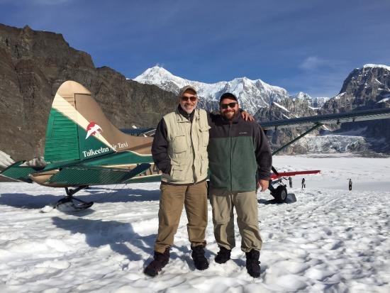 Talkeetna Air Taxi: Ruth Glacier landing; father and son with Denali in the background.